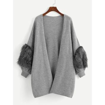 Plus Faux Fur Patched Open Front Cardigan