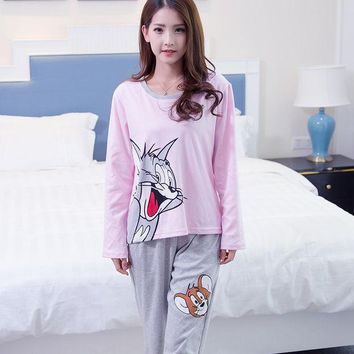 Spring And Autumn 100% Cotton 3xl Pyjamas Women Cartoon Cat And Mouse Pajama Sets Casual Sleepwear Pajamas For Women Female Girl