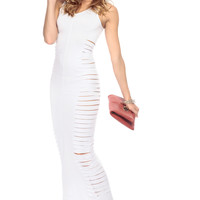 Sliced and Surprised White Maxi Dress
