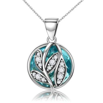 925 Sterling Silver Green Cubic Zironia Tree Of Life Pendant Necklaces for Women Jewelry Gift