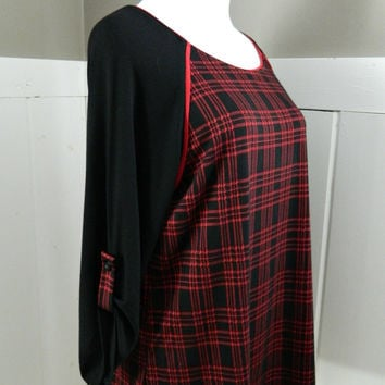 Red Plaid Knit Top