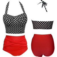 TrendyQueen-Vintage Retro Padded High Waisted Bikini Swimwear Polka dots Stripes Beach Wear = 1905960196