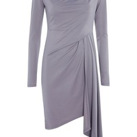 Asymmetric Crepe Drape Mini Wrap Dress - Dresses - Clothing
