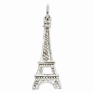 14k White Gold Solid Polished Eiffel Tower Charm, Best Quality Free Gift Box Satisfaction Guaranteed