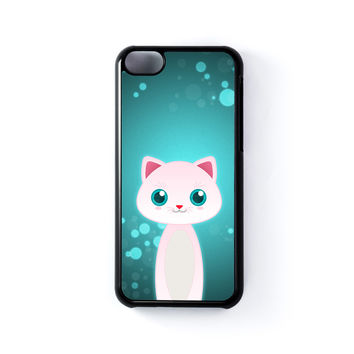 White Cat Black Hard Plastic Case for iPhone 5C by DevilleArt