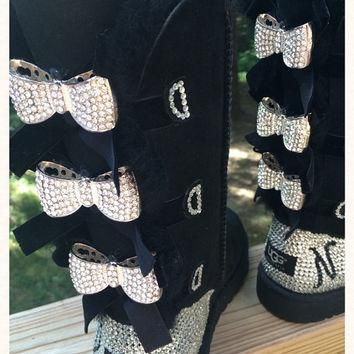 Custom Order!!! Tall black Bailey Bow Ugg boots, Blinged with Bows. Swarovski monogram