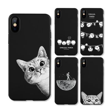 IIOZO Frosted Matte Case For iphone X 10 Cats Space Moon Cat Man Pandas Animal Phone Protector Cover Shell for iphone X Cases