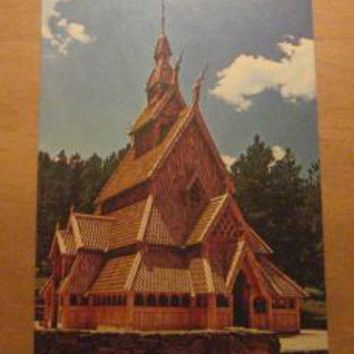 Vintage Stave Church Norway Replica Rapid City South Dakota Postcard