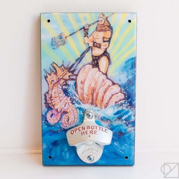Wall Mount Bottle Opener King of Sea