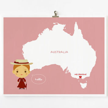Personalized Custom Australia Map with adorable by loopzart