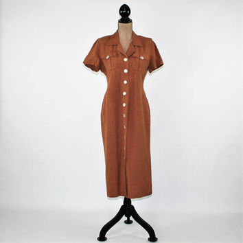 90s Short Sleeve Linen Dress Women Medium Fitted Button Up Brown Dress Midi Day Dress Vintage Clothing Womens Clothing