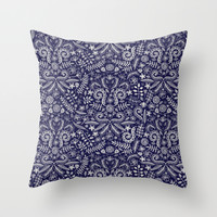 Chalkboard Floral Doodle Pattern in Navy & Cream Throw Pillow by Micklyn