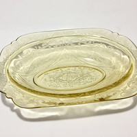 Amber Depression Glass Vegetable Bowl, Federal Madrid Etched Bowl