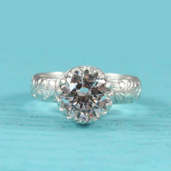 Engagement ring sterling silver with Swarovski Cubic Zirconia, floral band, cz ring, crown setting, vintage style, handmade, promise ring