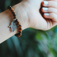 Hamsa Hand Tiger's Eye Beaded Bracelet