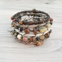 Silk Road Gypsy Bangle Stack - Earth Tones, 7 Bohemian Tribal Bracelets,  Silk Wrapped and Beaded
