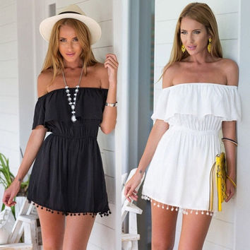 Sexy Women Boho Summer Casual Off Shoulder Evening Party Beach Dress Mini Dress = 5738884417