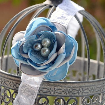 Well Dressed Wolf M2M Blue Aunt Heart girls halo-blue, gray and white satin flower-eyelet lace-all sizes-photo prop-wedding-beach photos
