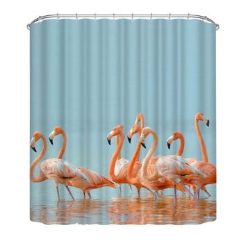 Waterproof Bird Shower Curtain Eco-friendly Washable Print Fabric Polyester Mouldproof Bath For Home Decor