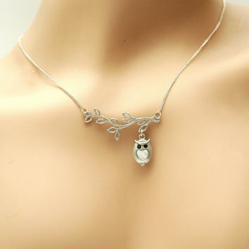 Silver Owl Necklace, Lariat Owl Necklace, Owl Charm Necklace, Leaf Necklace, Owl Jewelry
