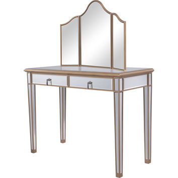 "Contempo 42""x18""x31"" Mirrored Vanity Table & Mirror, Gold"