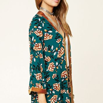 Floral Open-Front Cardigan