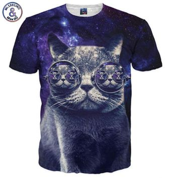 Mr.1991INC Space Galaxy T-shirt Men/Women 3d T-shirt Print Glasses Cat Tshirts Fashion Brand T shirt Summer Tees Plus 3XL 4XL