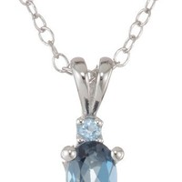 Sterling Silver Swiss Blue Topaz and London Blue Topaz Drop Pendant Necklace