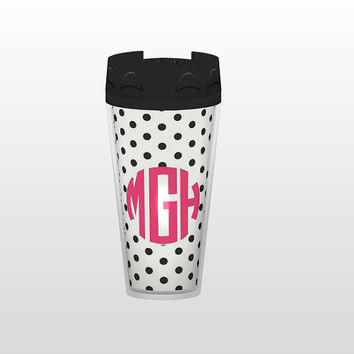 Customizable Polka Dot Monogram Tumbler by AlyssaCreates on Etsy