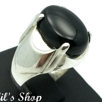 Men's Ring, Turkish Modern Style Jewelry, 925 Sterling Silver, Gift, Traditional Handmade, With Black Agate Stone, US Size 10.5