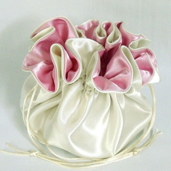 Wedding Bag Satin Bridal Money Purse Ivory and Pink No Pockets