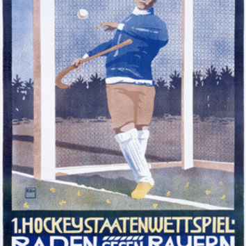 German Field Hockey Goalie Ad Fine Art Print