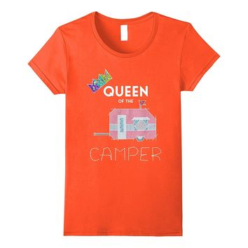 Womens Queen Of The Camper Funny T-Shirt Cute Camping RV Gift