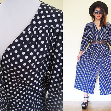 Vintage 80's polka dot romper jumpsuit palazzo pants puff sleeves slouchy LARGE size 10-12