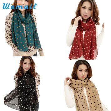 Womail Coolbeener New Stylish Girl Long Soft Silk Chiffon Scarf Wrap Polka Dot Shawl Scarve For Women Dec6