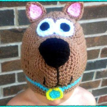 ESBON free shipping,100% cotton Halloween cartoon baby scooby-doo hat , new handmade Crochet  baby dog hat Christmas gift