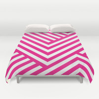 Pink and White Stripes Duvet Cover by Liv B