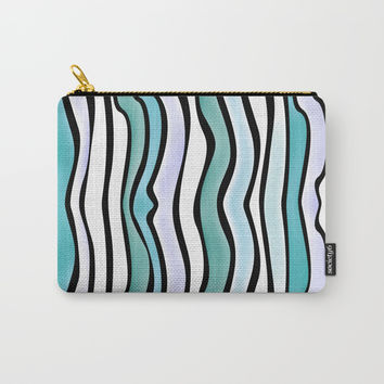 Blue Wavy Throw Pillow by Samantha Lynn