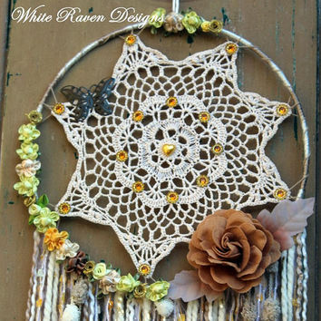 Doily Dreamer - Dream catcher - Mixed Textile Art Wall hanging - Bohemian Gypsy decor - Festival - Handcrafted by White Raven Designs