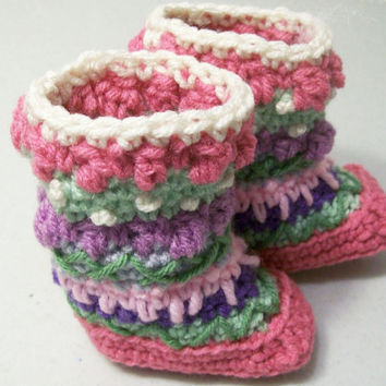 Baby Mukluks Granny Boots-Crochet-Pink -Baby Shower Gift--0/3M