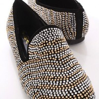 Black Faceted Beaded Loafer Flats