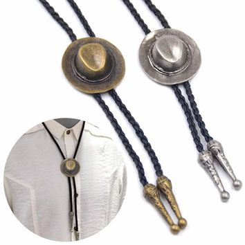 Men Chain Indian Cap Bolo Tie Dance Rodeo Aztec Bolo Tie Vintage Necktie Western Cowboy PU Leather Necklace Adjustable Bola Tie