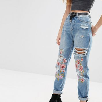 ASOS Original Mom Jeans in Mid Stonewash with Floral Embroidery and Rips