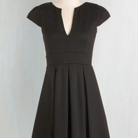 LBD Mid-length Cap Sleeves Fit & Flare Meet Me At the Punch Bowl Dress in Noir by ModCloth
