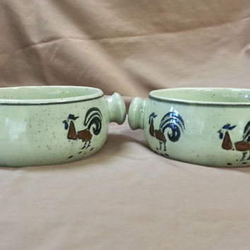 Rooster Theme Soup Bowl Set of 2 Vintage Sundo Stoneware