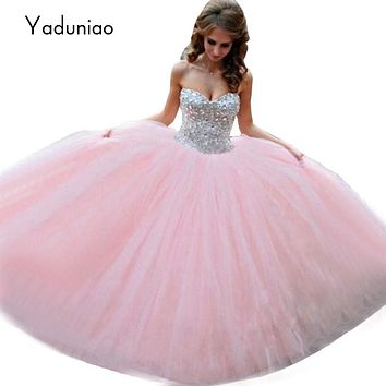 Long Pink Prom Dresses Sweet 16 Luxury Sparkle Rhinestone Bodice Puffy Tulle Ball Gown Prom Dress 2017