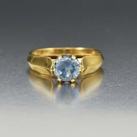 Brilliant Estate 14K Gold Aquamarine Solitaire Ring