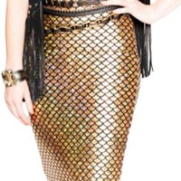 Women's Gold Mermaid Pencil Skirt