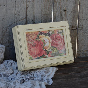 Jewelry Box, Shabby Chic, Ivory, Pink, Upcycled, Hand Painted, Wood, Small, Flowered, Roses