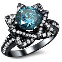 2.03ct Blue Round Diamond Lotus Flower Engagement Ring 14k Black Gold With a 1.08ct Center Diamond and .95ct of Surrounding Diamonds: Jewelry: Amazon.com